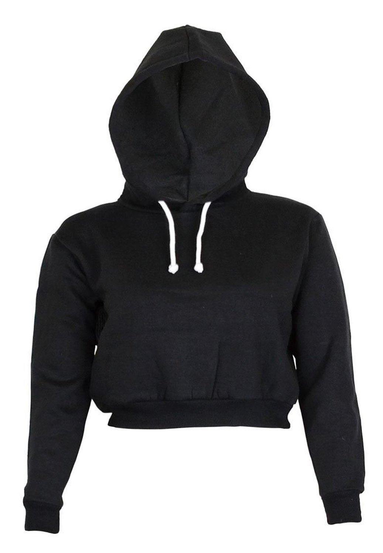 NOROZE Womens Zip Crop Hoodie Ladies Zipper Plain Sweatshirt Top