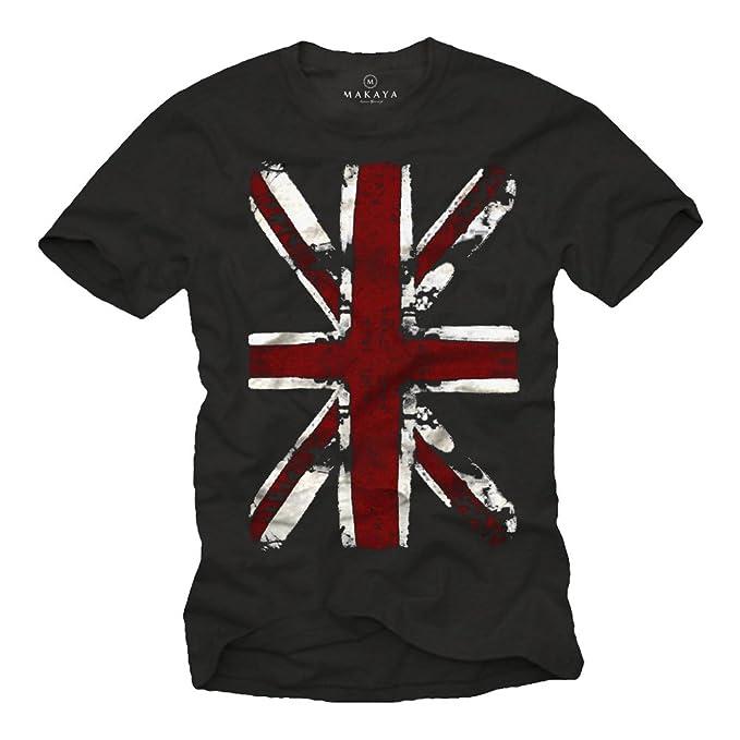 Camiseta con bandera de inglaterra - UNION JACK - Negra Hombre S
