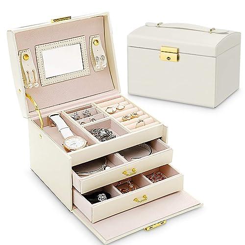 Caja Joyero,Caja para Joyas con Espejo y Cajones Estuche de Joyas con Cerradura para Pendientes, Collares, Pulseras, Relojes