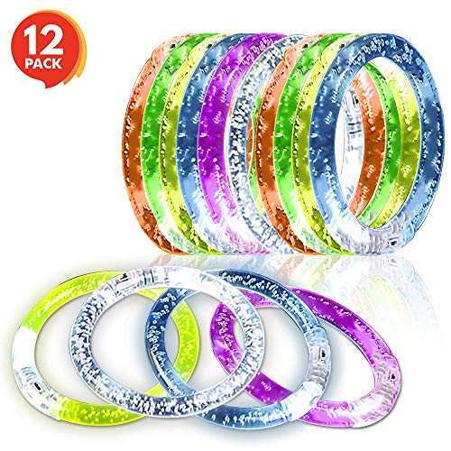 ArtCreativity Flashing Bubble Bracelets for Kids and Adults - Set of 12 - Multi Color Flashing Jewelry Wristbands - Fun Birthday and Wedding Favors, Party Supplies and Rave Accessories