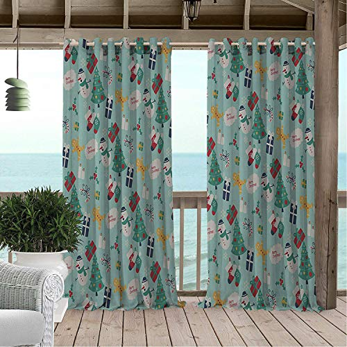 (Linhomedecor Patio Waterproof Curtain Christmas Snowmen Trees Gifts 9 doorways Grommet Printed Curtains 96 by 72 inch)