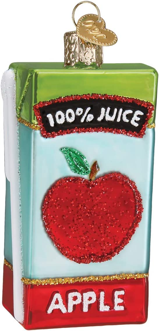 Old World Christmas Apple Juice Box Glass Ornament Free Box 32426 New