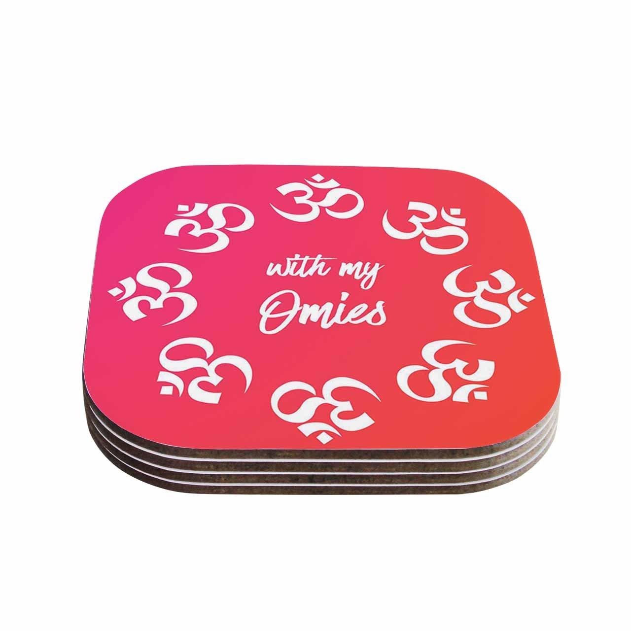 KESS InHouse OriginalWith My Omies Pink Coral Magenta Coasters 4 x 4 Multicolor Set of 4