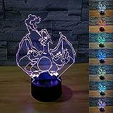 Pokemon Go Charizard 3D Night Light 7 Color Change LED Desk Lamp Touch Button Room Decor