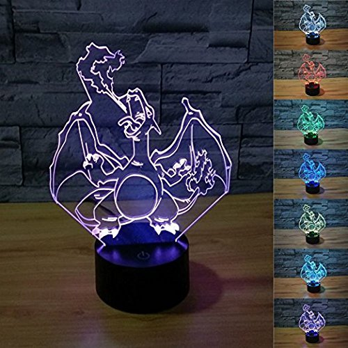 3D Illusion LED Night Light,7 Colors Gradual Changing Touch Switch USB Table Lamp for Holiday Gifts or Home Decorations (Charizard)