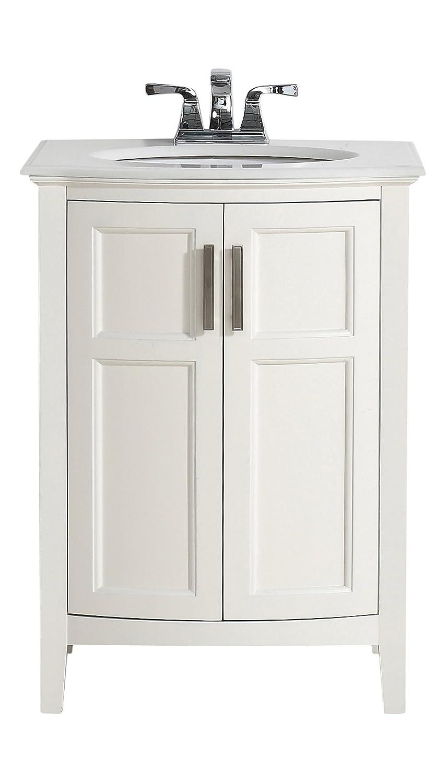 Bow Front Bathroom Vanity - Simpli home winston 24 bath vanity rounded front with quartz marble top soft white amazon com