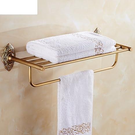 estante de toalla de latón doblado/Verde bronce toallero/Estante de baño de cuarto