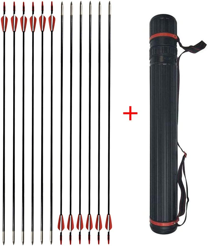 SHARROW 31 Inch Fiberglass Arrows Archery Target Practice Arrows with Arrow Quiver Tube for Youth Beginner Recurve Compound Bow Outdoor Shooting-12 Pack