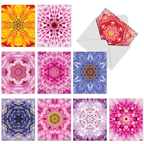 M6033sl Bloomoscopic: 10 Assorted Blank All-Occasion Note Cards - Mini Notecards With Envelopes