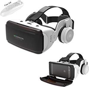 VR Headset for 3D IMAX Movie Video Game, Virtual Reality Goggle w/ Headphone & Remote for iPhone 11 Pro XS XR X 8 7 6 S+ Samsung Galaxy A10e S10 S9 S8 S7 S6 Edge iOS Android Cellphone, White VR Glass