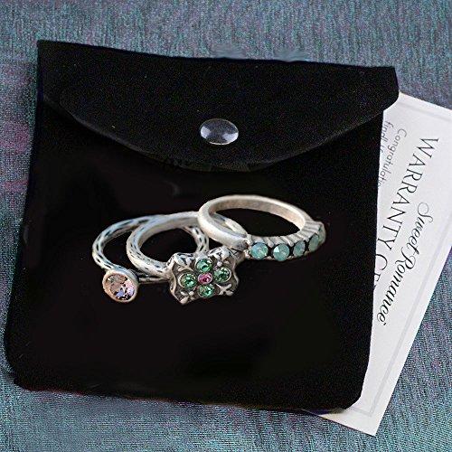 Sweet Romance Inspirational Silver Swarovski Crystal Boho Serenity Stack Rings - Set of 3 Stacking Rings (Size 9) by Sweet Romance (Image #4)