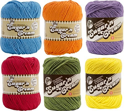 Lily Sugar n' Cream 6 Pack Bundle Solid Color Red Yellow Blue Purple Green Orange by Spinrite®