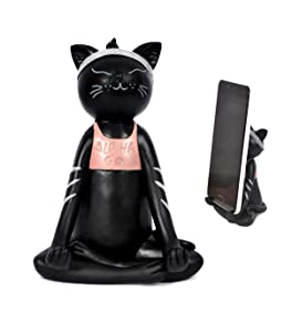 Cell Phone Holder, Alpha Go Yoga Black Cat Smartphone Stand, Dock, Cradle, Compatible with iPhone, All Android Smartphone Charging, Desktop Accessories Pal