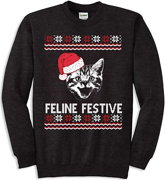 Women's Feline Festive Funny Cat Ugly Christmas Sweatshirt for Ladies Ugly Christmas Sweater for the Holidays