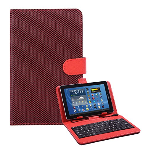 HDE Diamond Stitch Hard Leather Folding Folio Case Cover with Micro USB Keyboard for 7