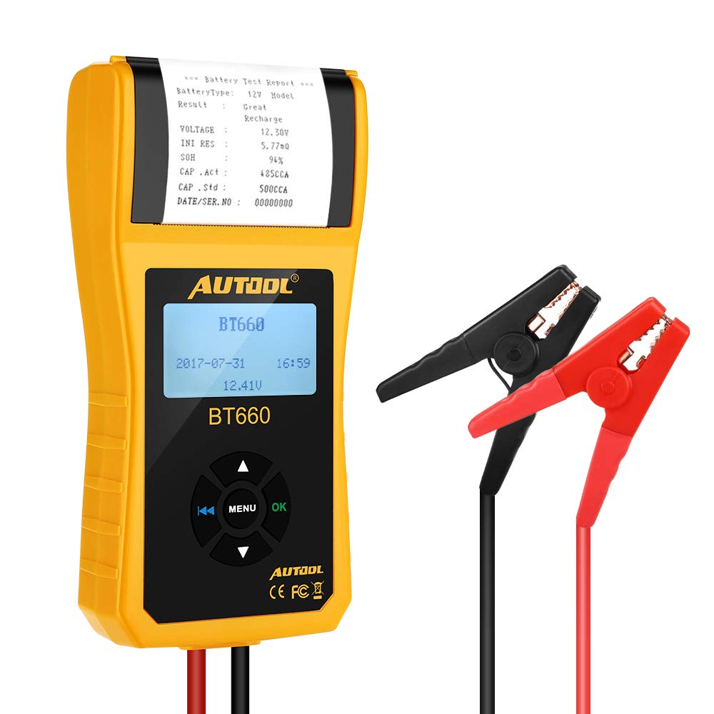Car Battery Tester with Printer,Digital Display,12V/24V Analyzer Diagnostic Tool Using Conductivity Technology to Test, for CCA ,BCI Standard Battery, Automotive Cranking Lead-acid Battery,Boat,Truck