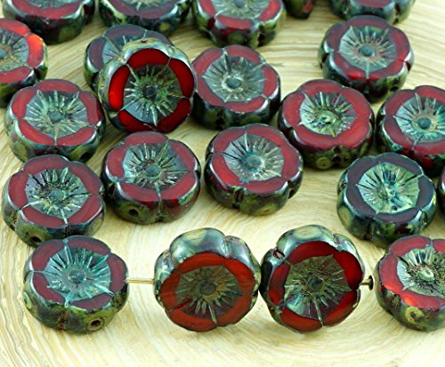 10pcs Picasso Coral Red Brown Rustic Table Cut Window Czech Glass Flat Carved Hawaiian Flower Beads Coin Halloween 12mm