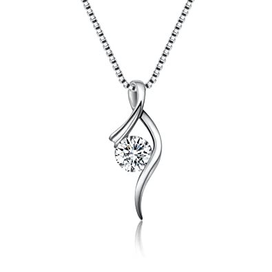 Twinmond Women Necklace 925 Sterling Silver Pendant Necklace with Cubic Zirconia Twist Heart Feature vUBqALk