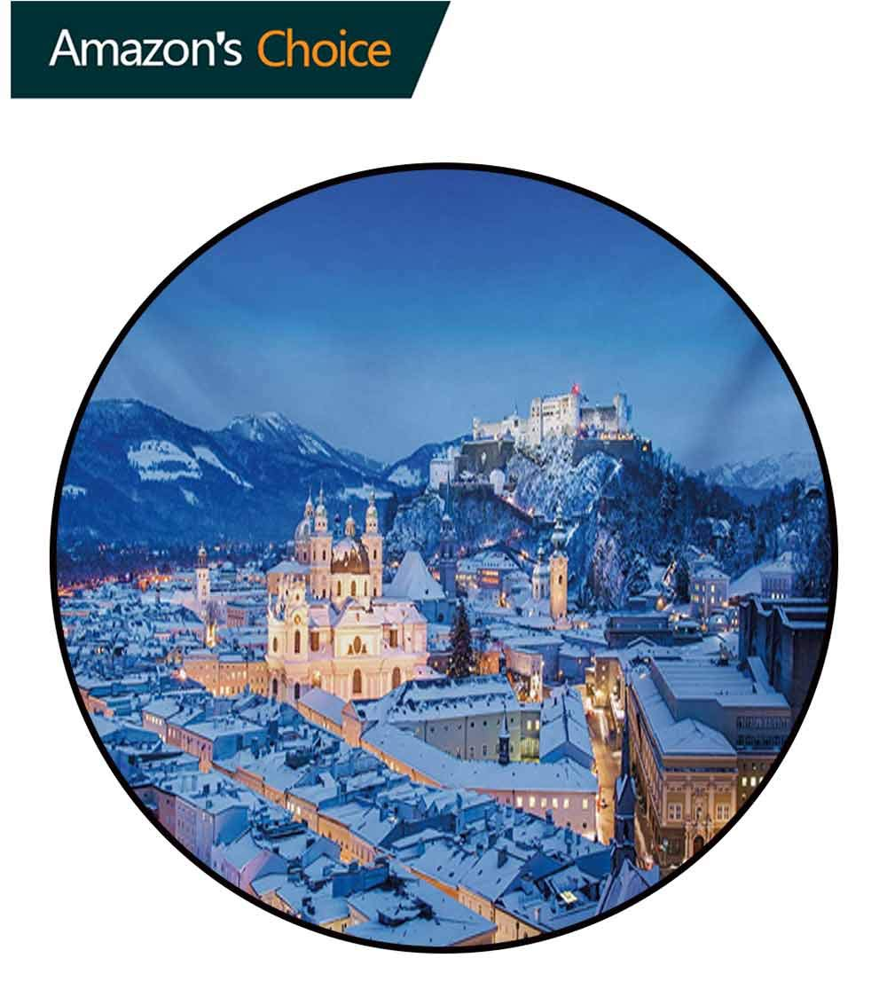RUGSMAT Winter Computer Chair Floor Mat,View of The Historic City of Salzburg with Festung Hohensalzburg in Winter Austria Printed Round Carpet for Children Bedroom Play Tent,Diameter-59 Inch