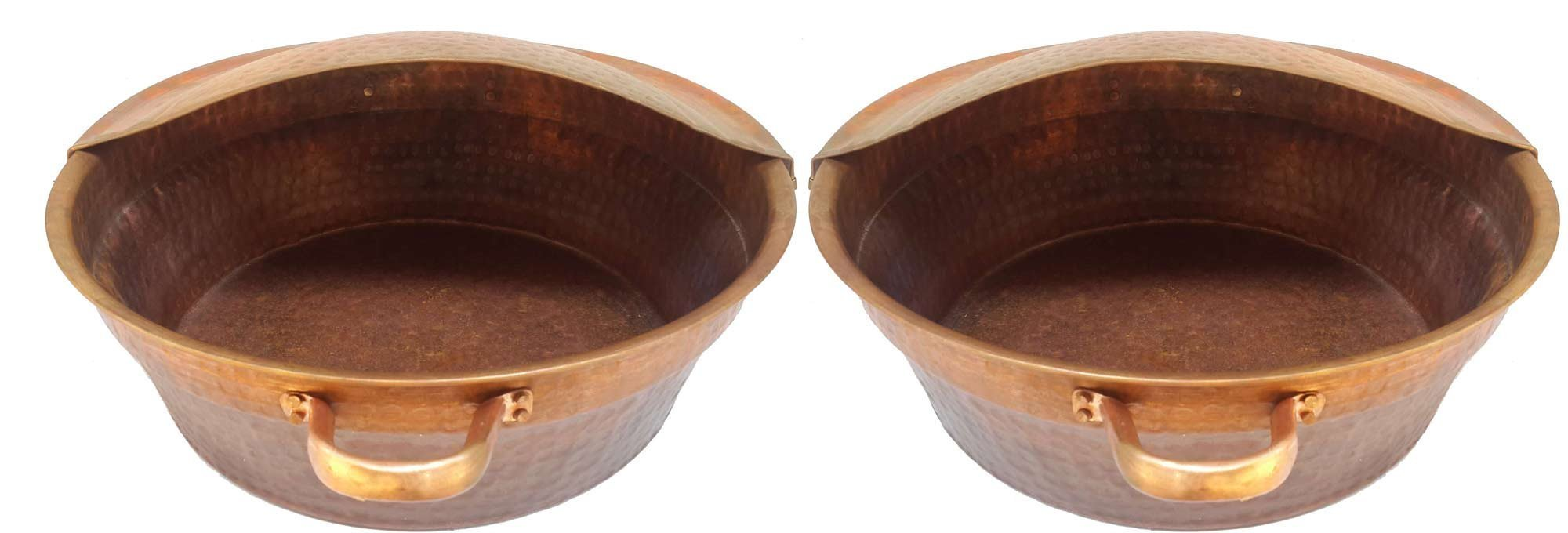 Egypt gift shops Pair Large Fire Burnt Massage Bath Buckets Handles Pedicure Spa Styling Salon Bowls + 2 Foot Rests Supports by Egypt Gift Shops