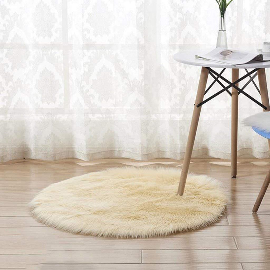 CAI Alfombra de alfombras para el hogar Área de la Tienda Negro/Amarillo Claro/Blanco Punta de Color Amarillo Redonda Alfombrilla de acrílico Antideslizante Alfombra de pie Antideslizante - Antid