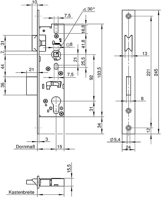 Dornma/ß 30 mm WILKA Rohrrahmen-Einsteckschloss 1438 │Stulp 270 mm Edelstahl │mit 20 mm Langl/öchern