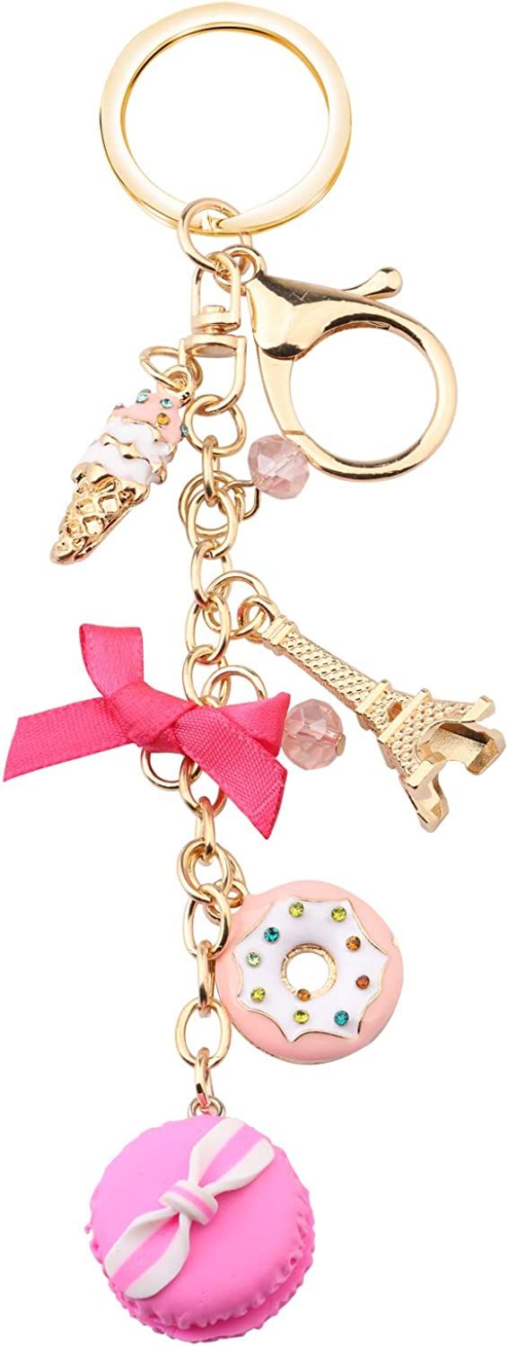 BEKECH Macaroon Cake Lovers Gift Macaroon Charm Eiffel Tower Donut Ice Cream Cake Charm Keychain Gift for Dessert Lovers Food Charm Hanging Ornament for Her