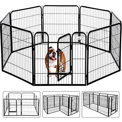 Pet Gate, Large Dog Kennel Puppy Playpen Dog Fence 24,32,40 Inch Exercise Pen Gate Fence Foldable 8 Panels with Door…