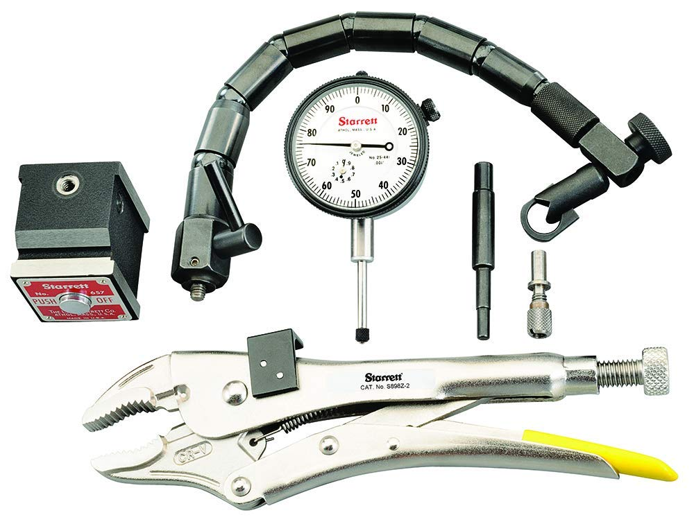 Starrett S898Z-2 Automotive Inspection Kit With Indicator, Pliers, Flex-O-Post Magnetic Base & Form-Fit Plastic Case by Starrett