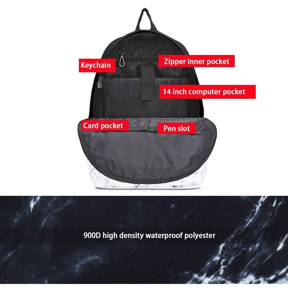 TRDyj Backpack Travel Bag Marble Print Backpack Backpack Collegebag Super Fire Couple Pack