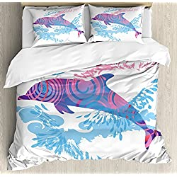 Ambesonne Sea Animals Decor Duvet Cover Set, Dolphin Figure with Colorful Patterns Underwater Life Illustration, 3 Piece Bedding Set with Pillow Shams, Queen/Full, Blue Purple Pink