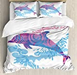 Ambesonne Sea Animals Decor Duvet Cover Set by, Dolphin Figure with Colorful Patterns Underwater Life Illustration, 3 Piece Bedding Set with Pillow Shams, Queen/Full, Blue Purple Pink