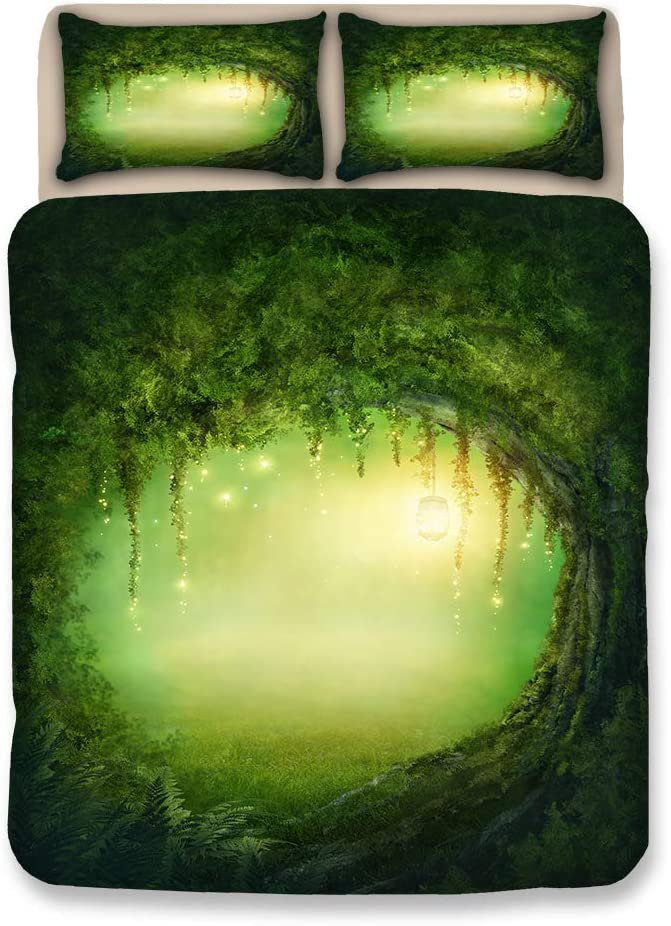 CHICKZ Juego De Ropa De Cama Forest Dreamland Funda Nórdica Verde Juego De Sábanas Funda De Almohada Sábana De 3 Piezas (#2,Double / 200 * 200cm)