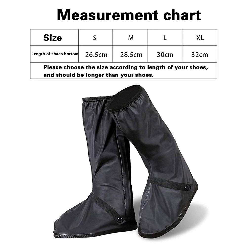 JOYII Ultimate Waterproof Rain Boot Shoe Cover with Reflector-Rainy Day shoes Gear Snow Motorcycle Shoes Cover Outdoor Protective Reusable Boot Cover(L-30cm)