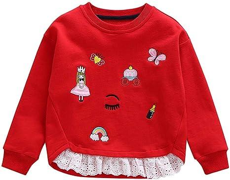 Niña Jersey con capucha Niñas elegante Abrigo Niño Bebé Baby Niña Bordado Splicing Sudadera Cime Pullover Camisa Camiseta Top Camiseta Camiseta 6 años rojo: Amazon.es: Bebé