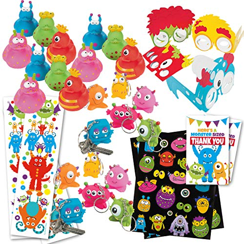 Monster Birthday Party Favors (80 Count Bulk Pack) - (12) Monster Rubbers Ducks, (12) Keychains, (12) Party Glasses, (12) Sticker Sheets, (12) Bookmarks, (20) Favor Tags - Kids Monster Party Supplies (Monster Sticker Sheet)