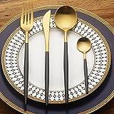 LEKOCH 4-Piece Stainless Steel Flatware Set 1 Including Fork Spoons Knife Tableware (Black+Golden)