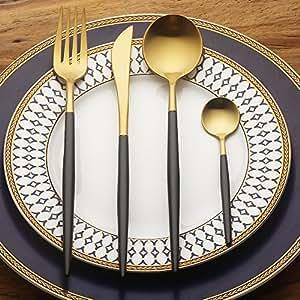 LEKOCH 4 Piece Stainless Steel Flatware Cutlery Set Including Fork Spoons Knife Silverware (Black+Golden)