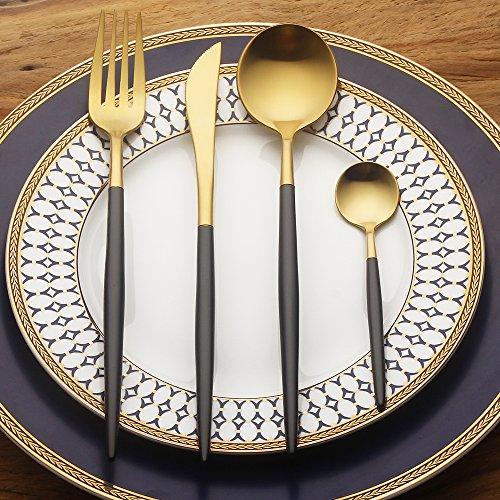 LEKOCH 4-Piece Stainless Steel Flatware Set 1 Including Fork Spoons Knife Tableware (Stainless Steel Tableware Set)