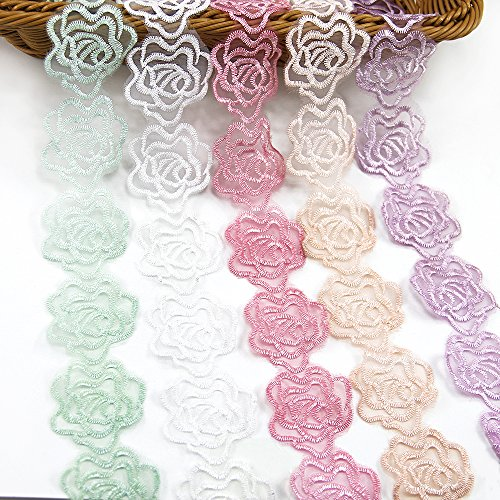 5 Yards Organza Embroider Romantic Rose Flower Floral Lace Trim Applique Sewing DIY Craft Lace for Festival Wedding Party Birthday Bridal Shower Decoration (5 Color 1Yard Each)