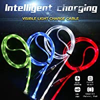 Cdycam 4pcs Glow in the Dark Light-up LED USB Data Sync Charger Cable Charging Cord for Iphone 5 5C 5S 6S 6 Plus 7 7 Plus