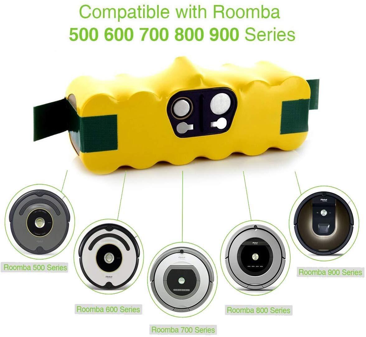 Bater/ía de repuesto de 14.4V 4.5Ah Ni-MH para iRobot Roomba Serie 500 510 510 521 530 531 600 605 610 615 616 620 772 774 776 780 800 865 871 875 Reoben