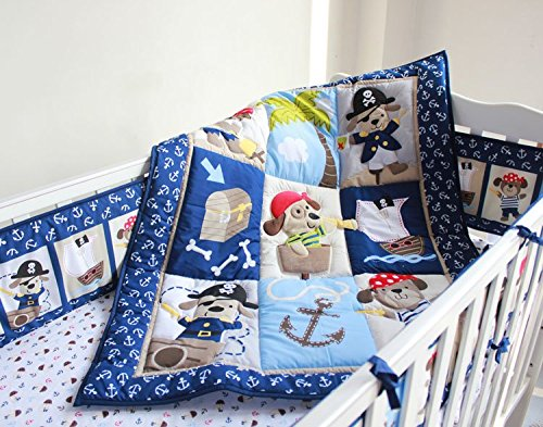 NAUGHTYBOSS Baby Bedding Set Cotton 3D Embroidery Pirates Of the Caribbean Quilt Bumper Bedskirt Fitted 7 Pieces Blue by NAUGHTYBOSS (Image #2)