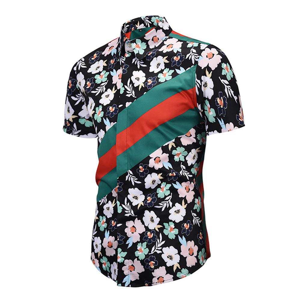 ZXLLZ Casual Ethnic Tribal Geometric Flower Swirl Print Short Sleeve Shirt Men Multicolored-3,XX-Large