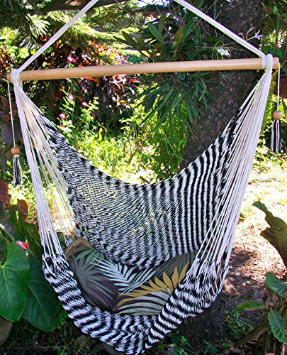 Hammock chair cotton black and beige zebra style 100% handmade/ Indoor outdoor chair hammock/ Hanging chair swing/Nicaragua hammock