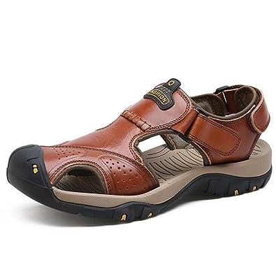 Mode Chaussures de Plage pour Hommes Souliers Simples Sandales,DarkBrown-38