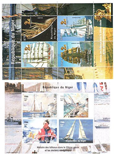 - Ships and Boats stamp collection with 2 souvenir sheets / Total of 8 stamps / Niger / 1998 / Mint never hinged