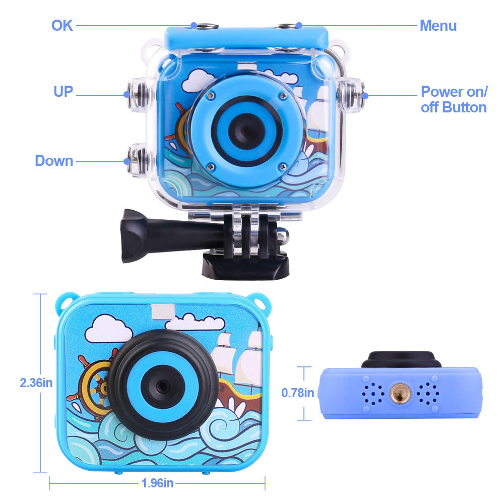 denicer Waterproof Action Kids Camera with 2.0 Inch LCD Display 12MP HD Underwater Camera Camcorder with 32G SD Card for 4-12 Boys and Girls Festive Gift-Blue by denicer (Image #5)