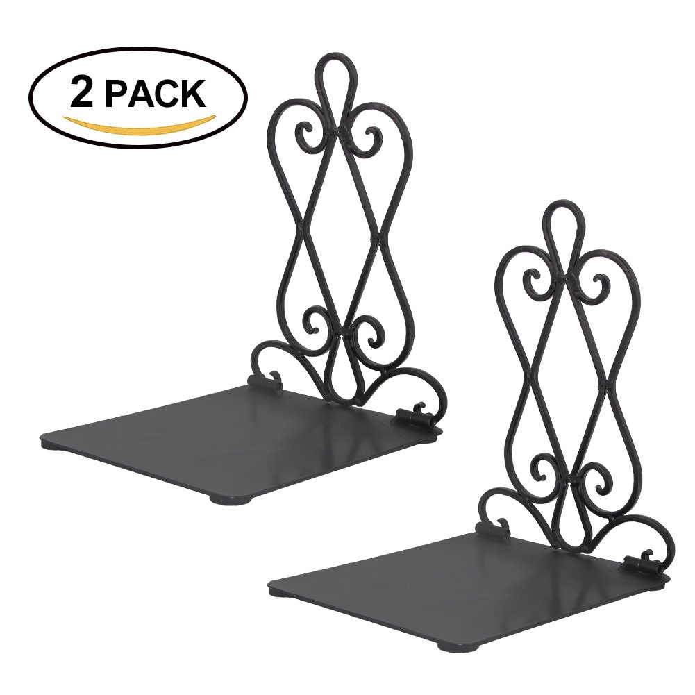 Kbnian Foldable Bookend Supports 2Pcs Metal Art Bookend Office Bookends for Office Shelves Students Library and Book Store Organise Your Books, Black