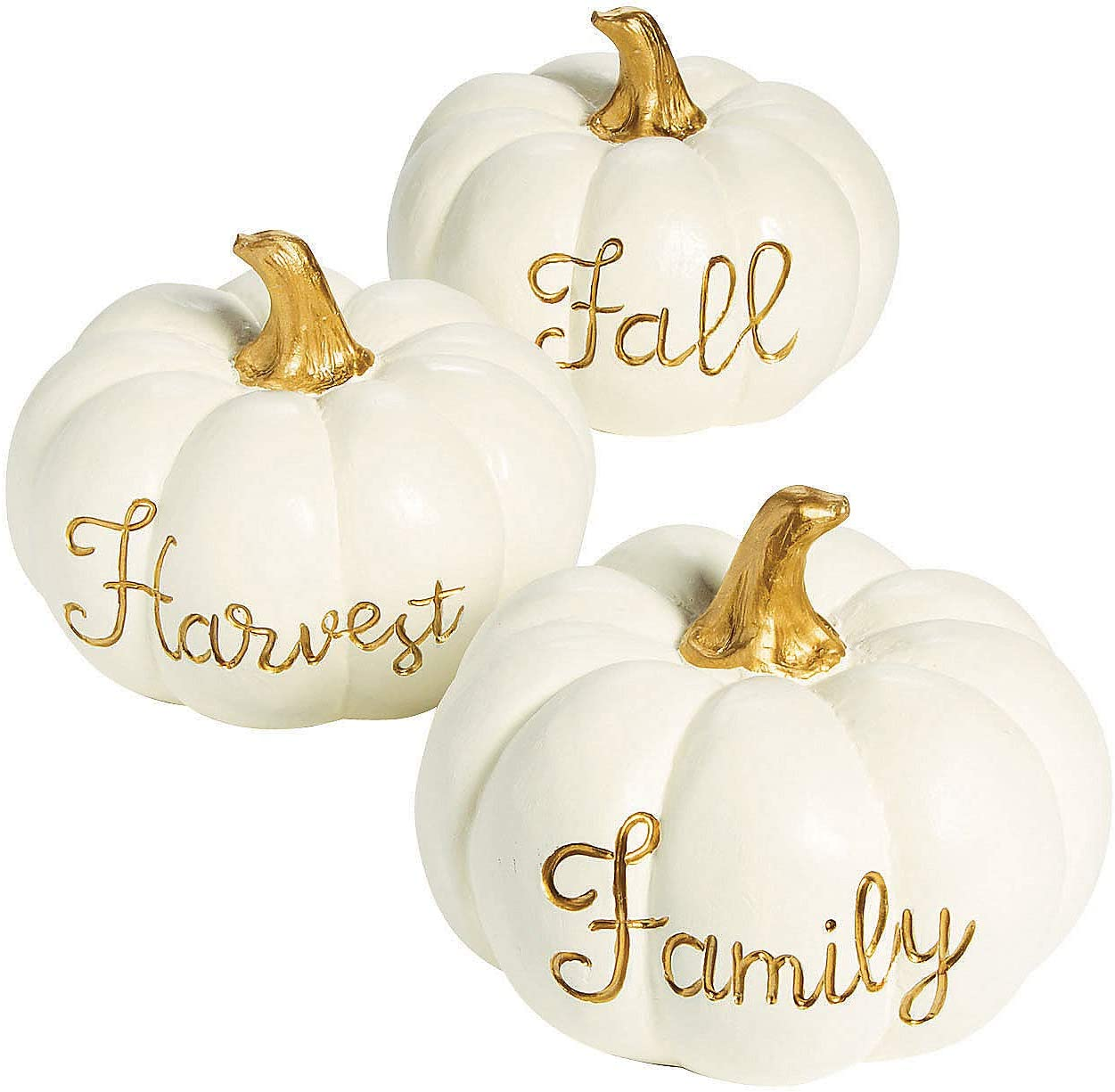 White Pumpkin with Gold Centerpieces (3 Piece Set) Fall and Halloween Home Decor